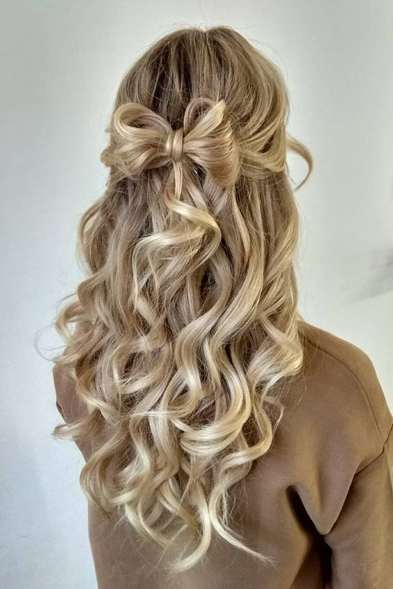 Pin by Alaina on To do   Wedding hair down, Half updo hairstyles .