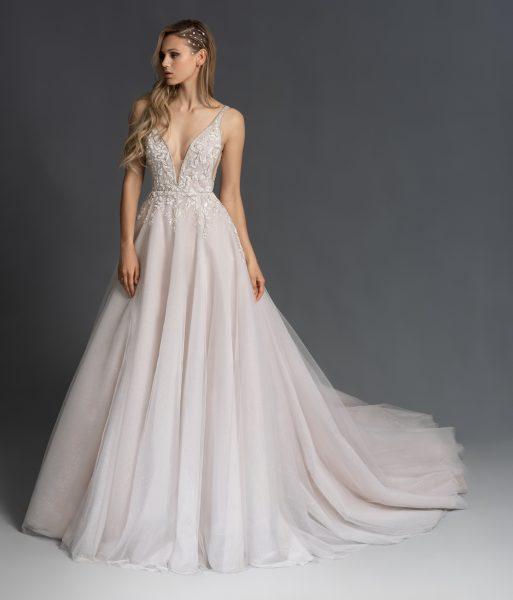 Beaded A Line V-neck Sparkle Wedidng Dress | Kleinfeld Brid
