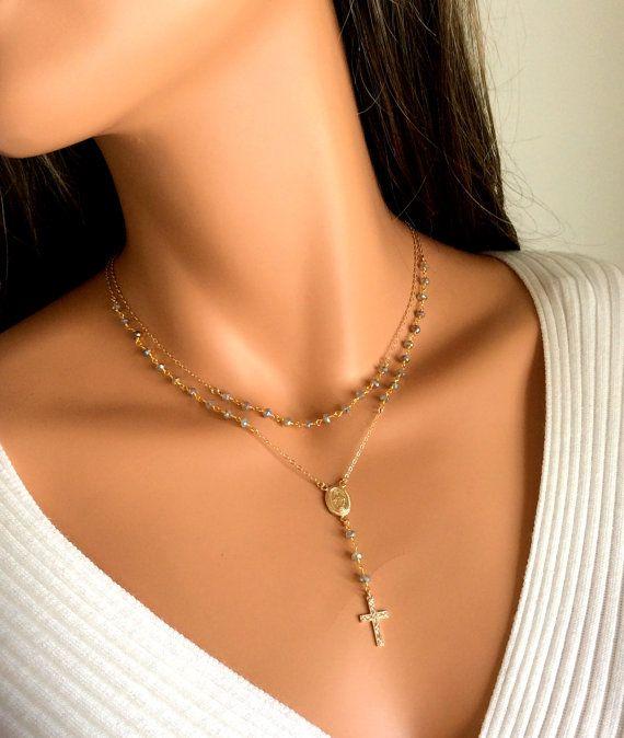 BEST SELLER Labradorite Rosary Necklace Gold Filled Sterling .