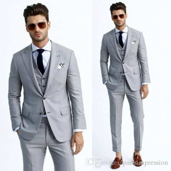 2017 NEW BEST MEN FORMAL WEDDING SUIT BRIDEGROOM BUSINESSMAN Gray .
