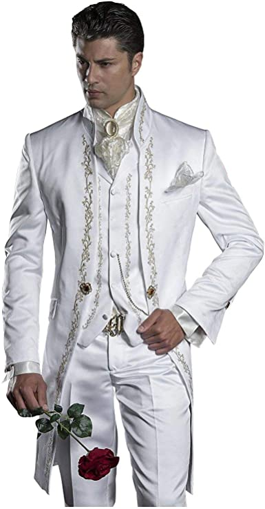 Mens Embroidery White Mandarin Lapel Tail Tuxedos Wedding/Prom .