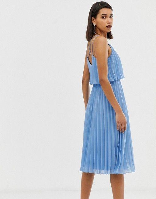 ASOS DESIGN | ASOS DESIGN Pleated crop top midi dress | Pleated .