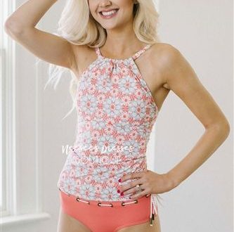 Coral Floral Halter Tankini Top Modest Swimsuit, modest swimwear .