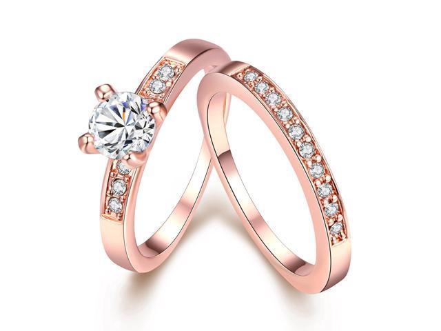 Eternity Love Women's 18K Rose Gold Plated Princess Cut Crystal .