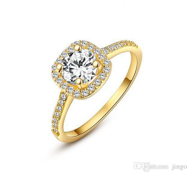 DHL Womens 18K Rose White Gold Plated CZ Crystal Engagement Rings .
