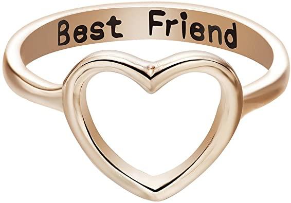 Amazon.com: Qiandi Women's Heart Love Best Friend Promise Ring .