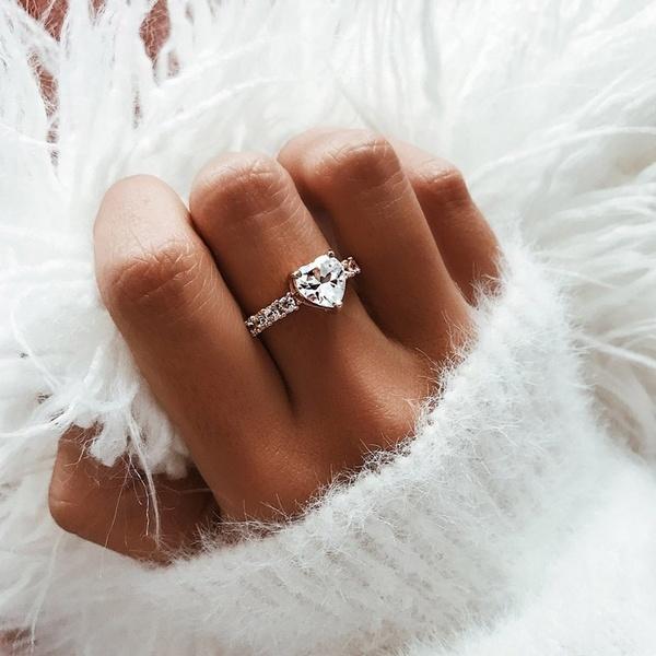 Women Simple Cute Love Heart Shape Cut Gold Alloy Crystal Dazzling .