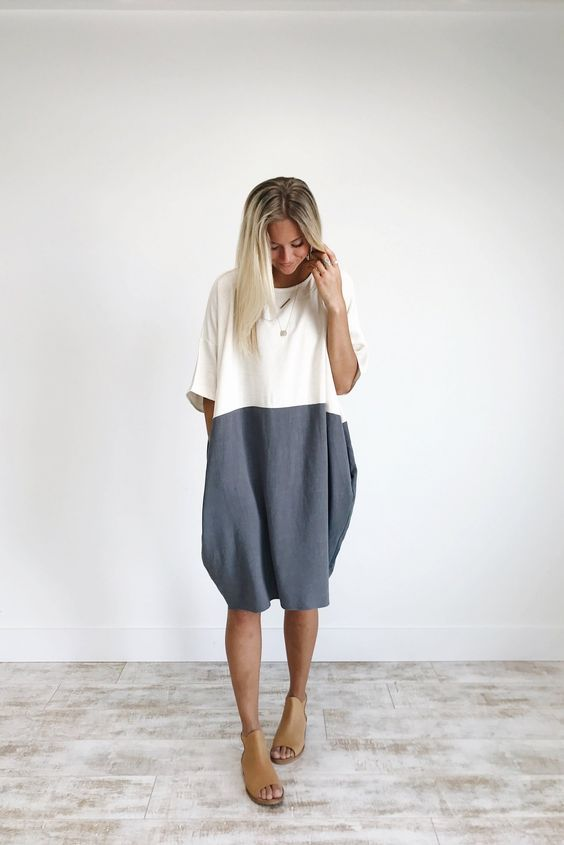 Charcoal Colorblock Linen Dress | ROOLEE | Fashion, Style, Roolee .
