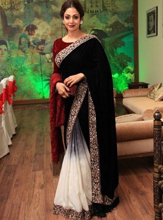 15 The Best Sridevi Saree Inspiration You Will Like   Velvet saree .