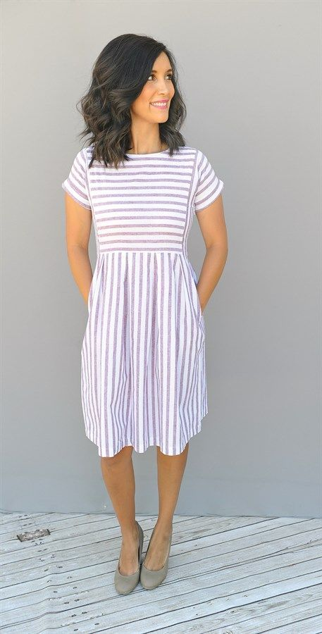 50+ Best Summer Work Dresses   Fashion, Style, Striped dre