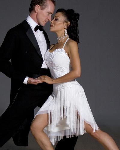 Jaqueline - A stunning white fringe Argentine Tango dre