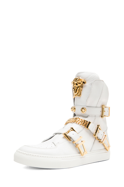 shoes, white, gold, medusa, versace, sneakers, menswear, women, hi .