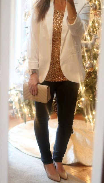 Holiday Casual outfit with sequin glitter top, winter white blazer .