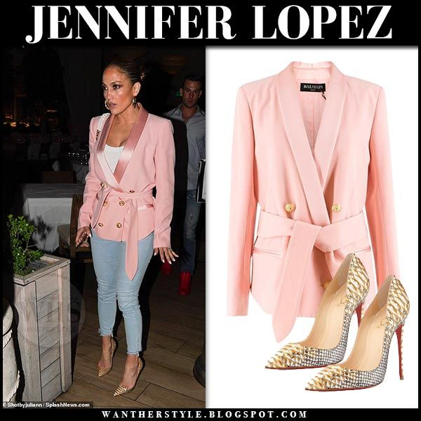 Jennifer Lopez in pink blazer and skinny jeans #fashion #style .