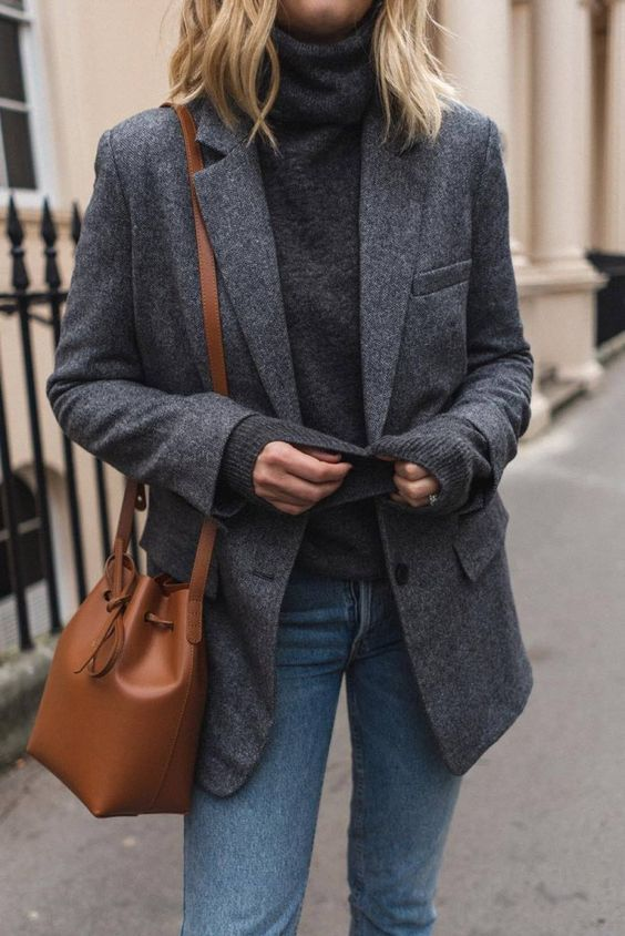 Blazer, street style, outfit, inspiration, bucket bag (With images .