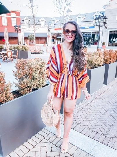 Perfect Weekend Brunch Outfit. Striped romper. Casual Outfit for .