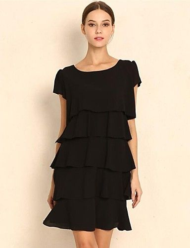 22.99] Women's Plus Size Daily Street chic Loose Chiffon Dress .