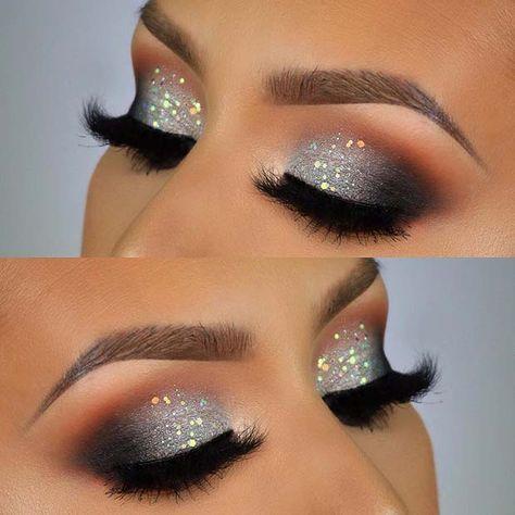 43 Christmas Makeup Ideas to Copy This Season | Sparkle eye makeup .