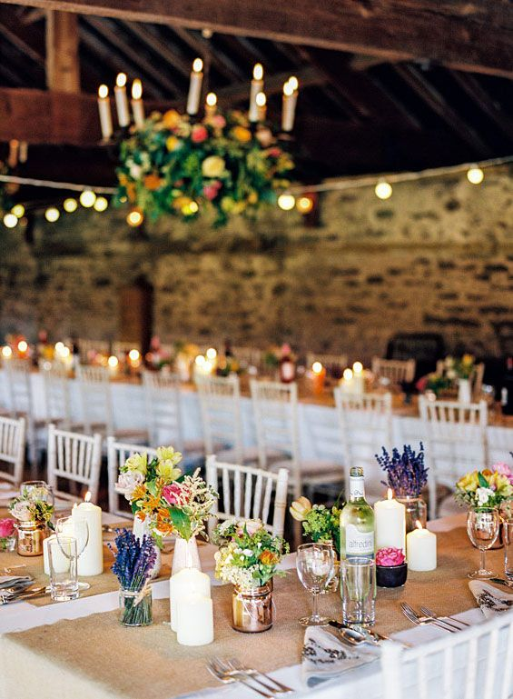 Burlap, Candle and Colourful Wedding Centerpieces Beautiful Rustic .