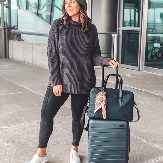 plus size travel outfit idea | Airport outfit idea | Winter travel .