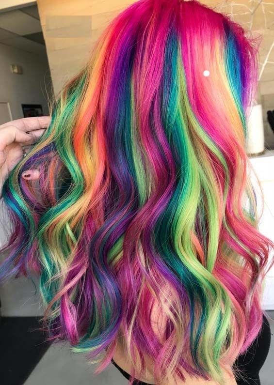 Amazing Shades Of Rainbow Hair Colors for 2018 | Hidden rainbow .