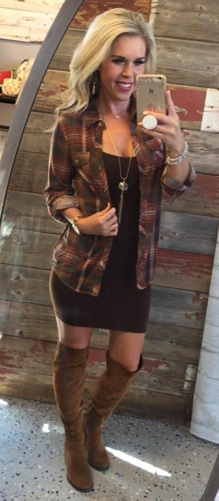 fall #outfits women's brown plaid sport shirt | Country outfits .