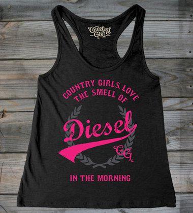 Black - Women's Country Girls™ Love Diesel Flowy Racerback Tank .