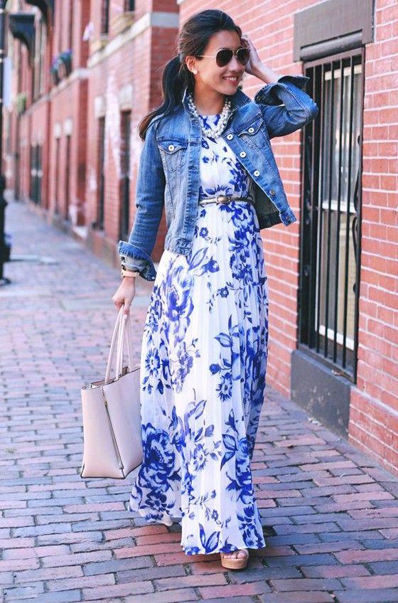 Blue Floral Print Ruffle Chiffon Casual Maxi Dress   Maxi dresses .
