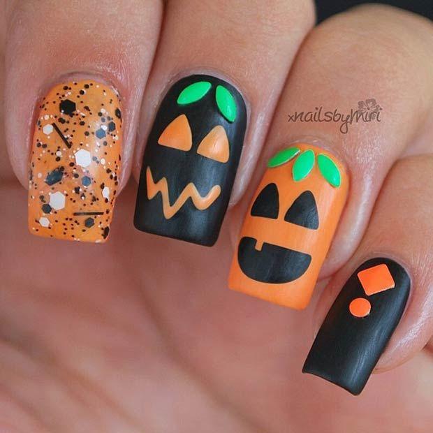 Halloween nail art | Pumpkin nails, Halloween nail designs .