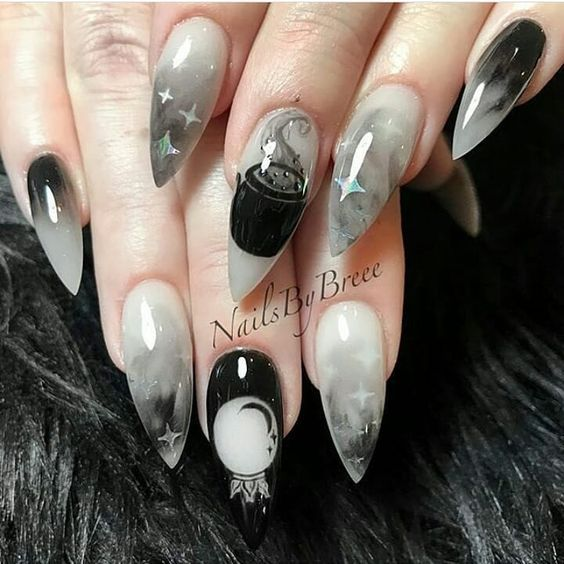 50+ Cool Halloween Nail Art Designs for 2018 | Goth nails, Cute .