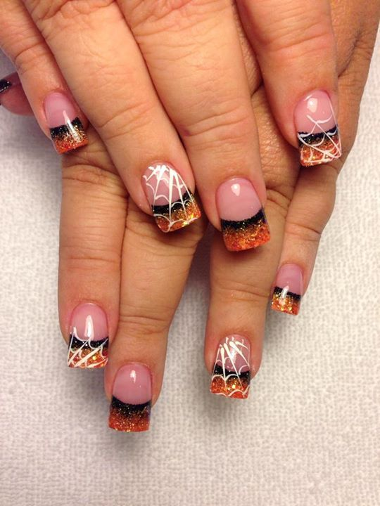 Cute :)) | Halloween acrylic nails, French nail designs, Halloween .