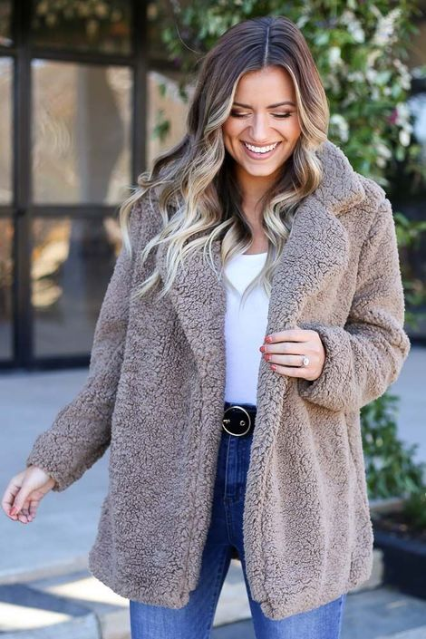 Mara Sherpa Teddy Jacket - Mocha | Shop dress up, Jackets, Cozy jack