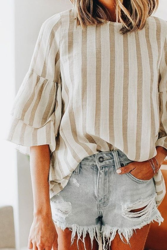 cute summer outfit ideas for women. cutoff shorts and stripe top .