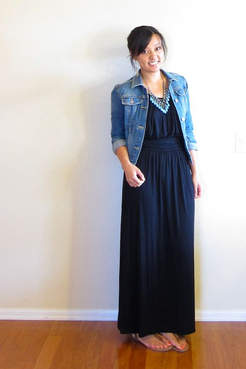 maxi dress with denim jacket, classic combination :) | Maxi dress .