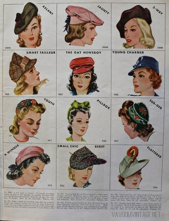 Image result for hat styles 1940s women | Hats vintage, Vintage .