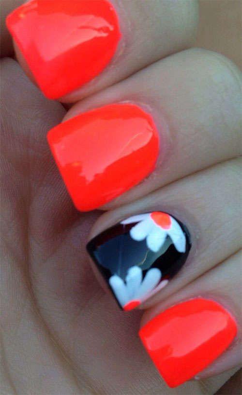 110+ DIY Manicures Made Easy   Summer gel nails, Orange nails, Nai