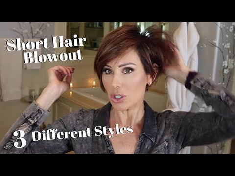 Short Hair Blowout + Three Different Styles! | Dominique Sachse .