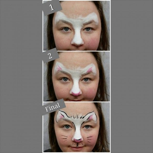 Easy 3 Step Kitty | Face painting easy, Face painting designs .