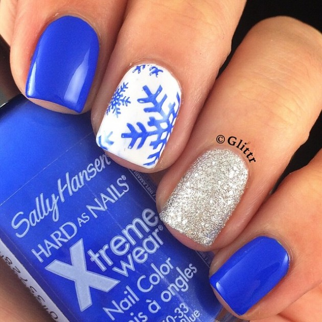 18 Easy and Simple Snowflake Nail Art Designs + Tutorial .