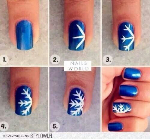 How to draw a snowflake on your nails | Christmas nails diy, Cute .