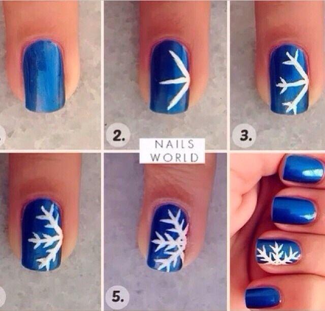 How To Make Snowflake Nail Design | Christmas nails diy, Cute .