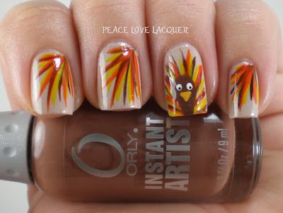 Fancy Turkeys by Peace, Love, Lacquer | Thanksgiving nail art .