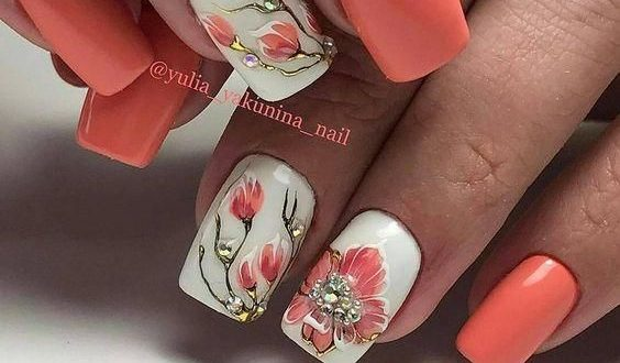 40+Summer Floral Nail Arts Design and Ideas Colors | Floral nail .