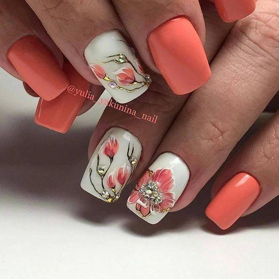 40+Summer Floral Nail Arts Design and Ideas Colors | Floral nail .