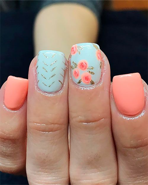 Best Nails Ideas for Spring 2019 | Cute nail colors, Floral nails .