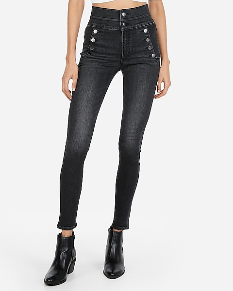 Super High Waisted Denim Perfect Black Button Front Leggings | Expre