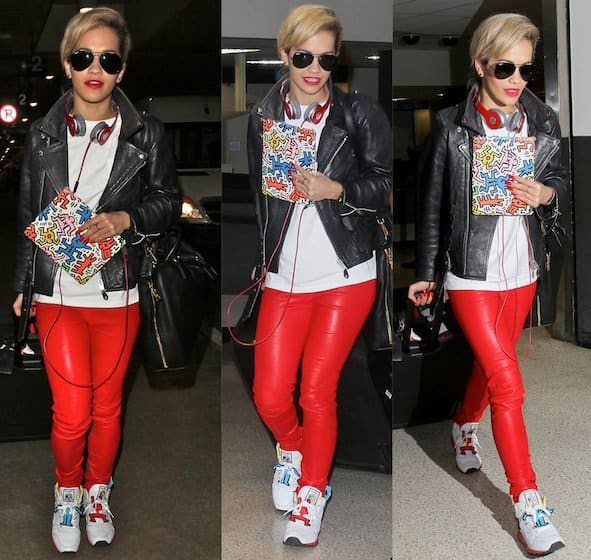 How to Wear Red Leather Pants Like Rita O