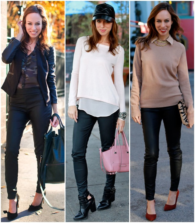 Sydne Style how to wear leather leggings faux leather pants trend .