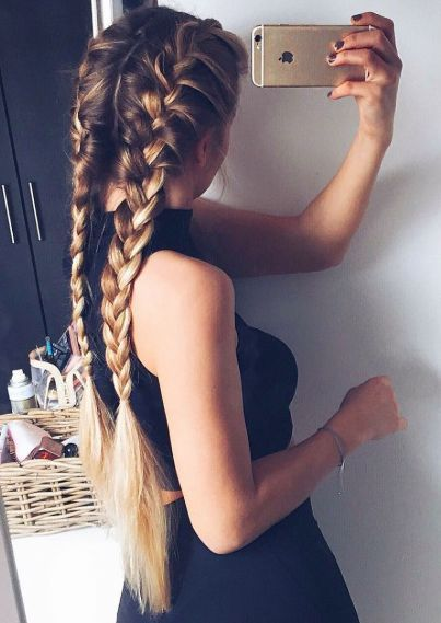Easy Hair Ideas For School : French braids for long hair .