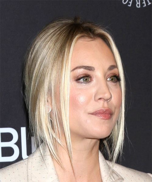 Kaley Cuoco Long Straight Light Blonde Half Up Hairsty